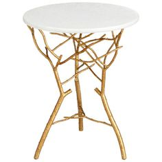 Cyan Design Langley End Table. Material: Iron and granite Transitional style Color: Gold Leaf