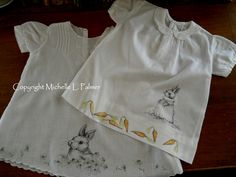 Petals & Palettes Copyright Michelle L. Palmer pen and ink illustrations on vintage baby dresses bunny carrots daisy flowers