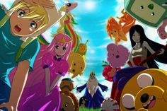 Adventure Time in anime. I would so watch it. Adventure Time Anime, Adventure Time Tumblr, Adventure Time Background, Adventure Time Wallpaper, Lumpy Space Princess, Flame Princess, Cartoon Network, Marceline And Princess Bubblegum, Time Cartoon