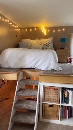 Small Room Design Bedroom, Cute Bedroom Decor, Girl Bedroom Designs, Cool Room Decor, Cool Bedroom Ideas, Diy Room Ideas, Small Bedroom Inspiration, Very Small Bedroom, Men Bedroom