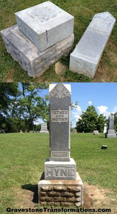 Gravestone Transformations - Samuel and Rebecca Hyne - Heidelberg Church Cemetery, Stoutsville Ohio - before and after cleaning and repair  #gravestone #cleaning #HeidelbergChurch #Stoutsville #Ohio #GravestoneTransformations - Hire Gravestone Transformations to preserve your ancestor's monuments!