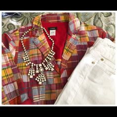 """EUC, JCrew Women's Patchwork Madras Blazer In excellent condition, this JCrew patchwork madras plaid blazer is full of what spring/summer has to offer-COLOR!! The long sleeves are rolled up to showcase the """"pop"""" of red that is featured throughout this gem! Also present, blues, yellow, white, orange, green,& pinks! This is the fashion piece that will go with everything: white capris, matchstick jeans, shorts, the possibilities are endless! Soft pleats fall below the waistline in back to make…"""