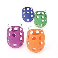 Lifefactory 17-Ounce Large Wine Glasses, Multi-Colored 4-Pack Lifefactory
