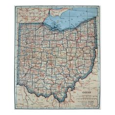 Shop Vintage Map of Ohio Poster created by Alleycatshirts. Ohio Map, Blueprint Art, Old Maps, Us Map, Custom Posters, Custom Framing, Vintage Shops, Vintage World Maps, Genealogy