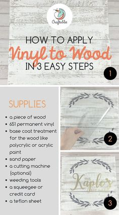 Easy Tips for Applying Vinyl to Wood: Read on to learn 3 awesome ways to add vin. Easy Tips for Applying Vinyl to Wood: Read on to learn 3 awesome ways to add vinyl to wood. We'll show you how to apply permanent vinyl to stained woo. Wood Projects For Beginners, Diy Wood Projects, Wood Crafts, How To Projects, Vinyl Crafts, Dyi Crafts, Easy Woodworking Projects, Woodworking Jigs, Woodworking Furniture