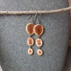 Yew wood earrings  unique wooden earrings  by NaturesArtMelbourne, $42.00