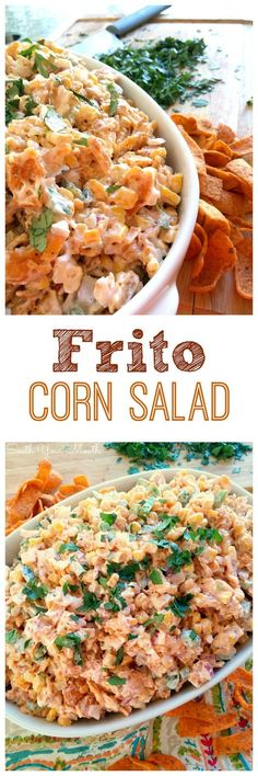 Frito Corn Salad! Easy and delicious corn salad made with Chili Cheese Fritos for a fantastic crunch and super tasty flavor!