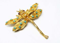 Vintage Dragonfly Brooch  Designer Signed Weiss  by thejewelseeker