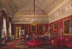 The First Reserved Apartment. The Large Study of Grand Princess Maria Nikolayevna, Winter Palace, Edward Petrovich Hau, 1867