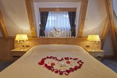 Celebrating a wedding against the backdrop of the Matterhorn: you celebrate, we take care of everything & the wedding night in the Junior Suite is on offer! Zermatt, Wedding Night, Romantic, Weddings, Bed, Furniture, Home Decor, Decoration Home, Romantic Things