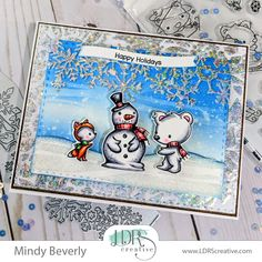 LDRS Creative and ThermOWeb Collaboration- Snow Much Fun Card Holiday Fun, Holiday Cards, Wave Stencil, Deco Foil, Snow Much Fun, Snowman Cards, Glitter Gel, Winter Theme, Christmas Wishes