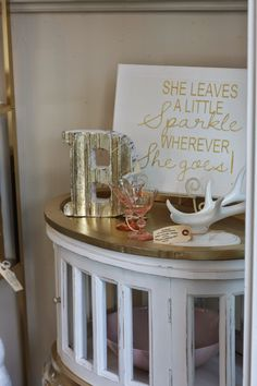 Gold & White side table. The Shabby Cottage Home In Oregon City, OR