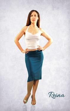 Tango skirt petrol and other colors with slit by reinatango