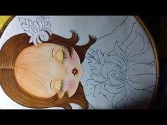 Pintura en tela niña crisantemo # 2 con cony - YouTube