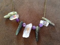 Shimmering luster stone necklace with kyanite by thisthatandthese, $22.00