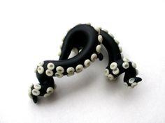 Black Glow in the Dark Tentacle Gauge Earring - 2, 0, 00 gauge. $25.00, via Etsy.