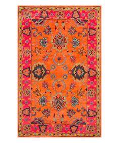 Look what I found on #zulily! Orange Montesque Wool Rug #zulilyfinds