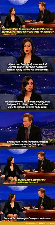 Aubrey Plaza knows what's up  must be a conservative ! ! !  LOL
