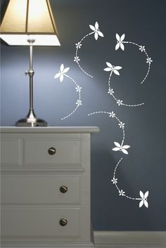 Wall Decals Set of 6 Dragonflies with flowers. $18.00, via Etsy.
