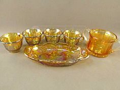 Marigold Carnival Glass Harvest 4 Cups, Candy Dish And Spooner