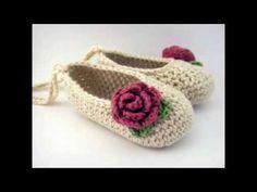 Zapatos tejidos para niña - YouTube