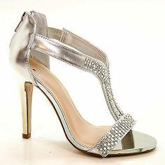 e6a992915eb Verla Silver Rhinestone Stud Strap Back Zipper High Heel Dress Sandal Women  Shoe
