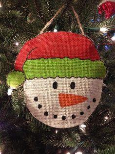 Personalized Burlap Snowman Ornament by BostonBurlap on Etsy, $10.00