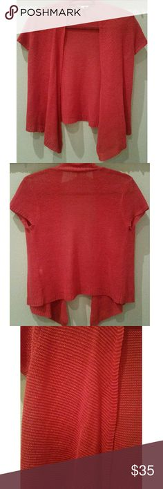 """Eileen Fisher red linen short sleeve cardigan Eileen Fisher red linen short sleeve cardigan, size PP, per Eileen Fisher size chart this is petite small similar to 2/4P.  Measurements: 22"""" long 19"""" armpit to armpit on back Eileen Fisher Sweaters Cardigans"""