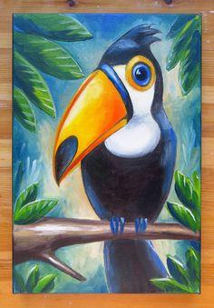 Toucan Original Art Birds Animals Oil on canvas by MikiMayoShop