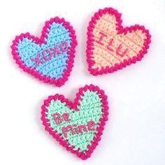 Free Crochet Pattern: Candy Conversation Hearts