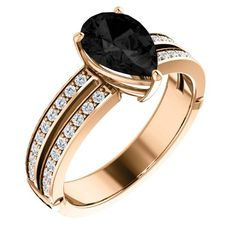 14K Rose Gold 9.00×6.00mm Pear Cut Onyx and Diamond Ring — LIFETIME WARRANTY | Sparkly Things Jewelry