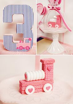 {Cute & Girlie!} Train of Love 3rd Birthday Party...I absolutely love this sugar wafer train engine...so cute!