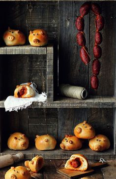 Pigs in a blanket. i love everything about this image... via The Messes of Men