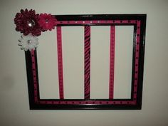 Pink & Black Repurposed Picture Frame Hair Bow Holder For ALL of Saige's Bows