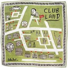 Clubland map by Adam Dant Pall Mall, London Clubs, Brick Lane, Pocket Square, Holiday Decor, Maps, Dragon, Style, Brick Road