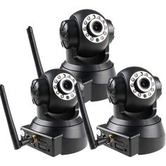 Image Entertainment - 3 Pack Wireless WIFI PAN/TILT Webcam Security Camera OSD IR Motion Detection iPhone® Android - Black - Larger Front