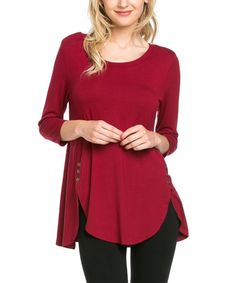 Loving this Burgundy Side-Button Tunic on #zulily! #zulilyfinds