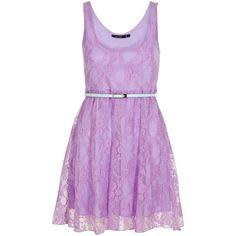 Miso Lace Dress ($14) ❤ liked on Polyvore featuring dresses, vestidos, short dresses, purple, women, pastel dresses, pastel purple dress, lilac short dress and lace cocktail dress