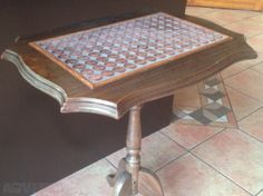 Upcycled Antique Occasion Table With Punt Coins For Sale in Portarlington, Laois from melissabell Coins For Sale, Vanity Bench, My Design, Antiques, Table, Projects, Furniture, Home Decor, Upcycled Crafts