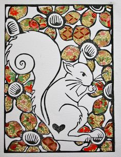 Sweet Squirrel - Linocut Print by CocoPress