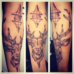 Tatouage cerf by Merries Melody tattooshop 66 http://merriesmelody.com