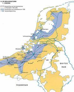De Beeldenstorm: Kaart: De beeldenstorm | entoen.nu History Museum, Art History, Holland Map, European Map, Map Layout, Map Globe, Historical Maps, Chinese Architecture, Catholic Art