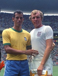 Brazil's captain Carlos Alberto Torres, left, and England's captain Bobby Moore, prior to their World Cup match in the Jalisco Stadium in Mexico on 7th June 1970