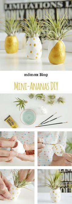 Mini-Ananas  ganz einfach selber machen! Tolle Dekoidee! **Mit Fimo und Tillandsie** Diy Fimo, Fimo Clay, Gold Diy, Clay Creations, Diy And Crafts, Upcycle, Mini, Diy Projects, Table Decorations
