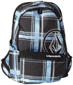 Volcom Men's Equator Backpack, Blue Plaid, One Size Volcom. $17.15. 1% for the planet member. Volcom v.co-logical series. Dimensions: 12 x 7 x 19 inch. Two compartment backpack with circle stone applique and volcom  embroidery. 51% Recycled Polyethylene Terephthalate/49% Polyester. Volume: 21L. Hand Wash. Save 59% Off!
