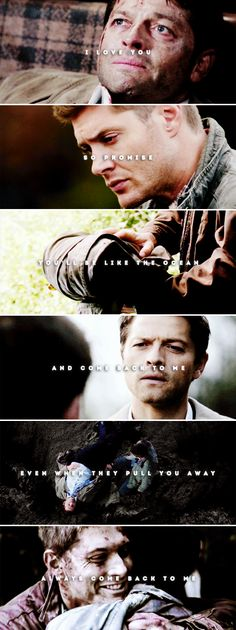 i love you so promise you'll be like the ocean and come back to me even when they pull you away always come back to me #spn #destiel
