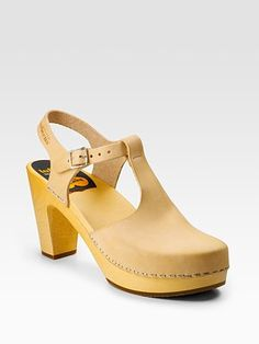 swedish hasbeens.  t-strap clogs.