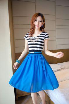A6579# Spring Summer Dress blue