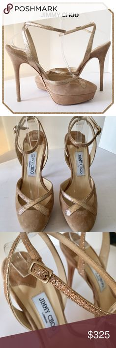 ff661a62ae43 SALE - Jimmy Choo Ankle Strap Platforms Heel is approximately and platform  Leather sole and lining. Made in Italy. Comes with dust bag.