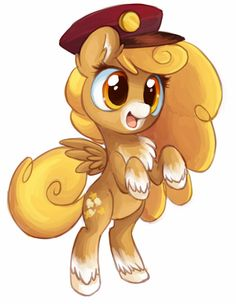 Butterscotch oc pony loves candy and is frieds with Derpy kuz she works at the post office